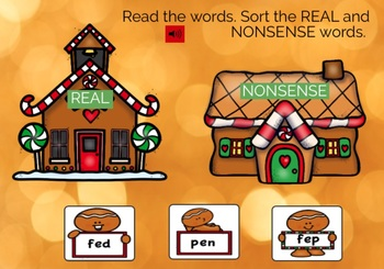 Gingerbread BOOM CARDS Real and Nonsense Word Sort