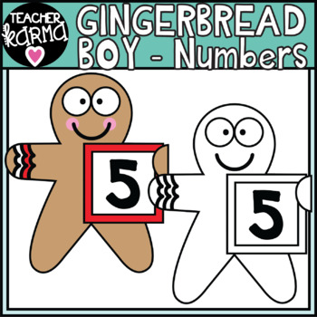 Gingerbread BOYS holding Numbers - Math Clipart