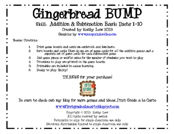 Gingerbread BUMP -- Addition & Subtraction Fact Fluency Games