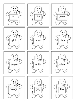 Gingerbread Baby Color Word Cards