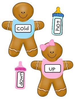 Gingerbread Baby FREEBIE- Opposites Center