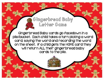 Gingerbread Baby Sight Word Game