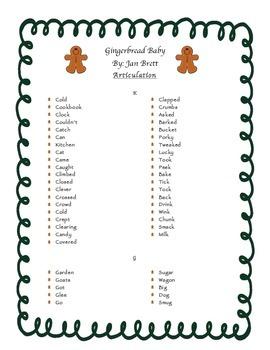 Gingerbread Baby Speech Articulation Companion ~ Freebie