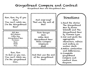 Gingerbread Bear/Gingerbread Man Compare and Contrast