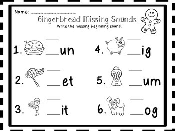 Gingerbread Beginning, Middle, and Ending Sounds