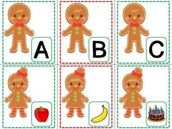 Gingerbread Beginning Sound Match Up Game