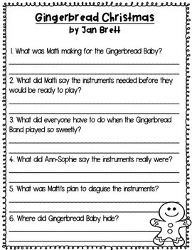 Gingerbread Books Comprehension Questions and Graphic Organizers