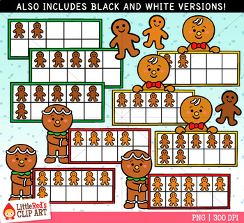 Gingerbread Boy Christmas Ten Frames Clip Art
