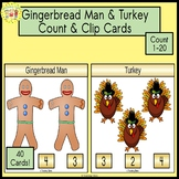 Gingerbread Boy Count and Clip Holiday Task Cards