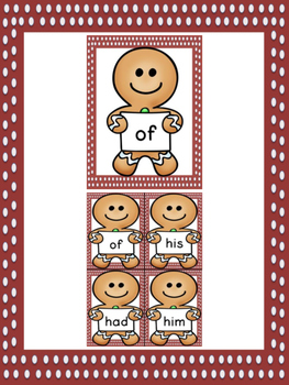 Gingerbread Boy Dolch First Grade Sight Word Posters and Flashcards