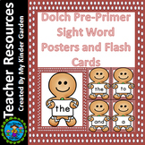 Gingerbread Boy Dolch Pre-Primer Sight Word Posters and Flashcards