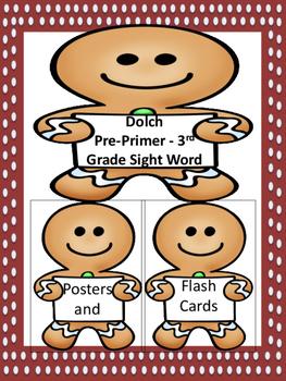 Gingerbread Boy Dolch Pre-Primer-Third Grade Sight Word Fl