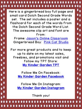 Gingerbread Boy Dolch Second Grade Sight Word Posters and Flashcards