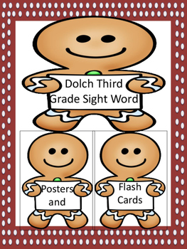 Gingerbread Boy Dolch Third Grade Sight Word Posters and Flashcards