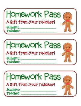 """Gingerbread Boy"" Homework Pass –Holiday FUN! (full color and black line)"