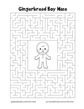 """""""Gingerbread Boy"""" Maze! Holiday FUN! (Color and Black Line)"""
