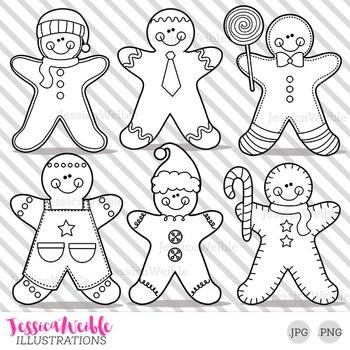 Gingerbread Boys Cute Digital B&W Stamps, Gingerbread Line Art, Blackline