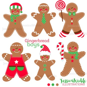 Gingerbread Boys Cute Digital Clipart, Christmas Graphics