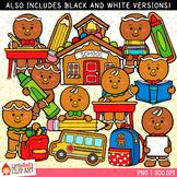 Gingerbread Boys at School Clip Art