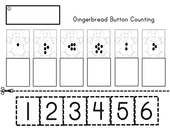 Gingerbread Button Counting Cut & Paste Numbers 1-6 Precio