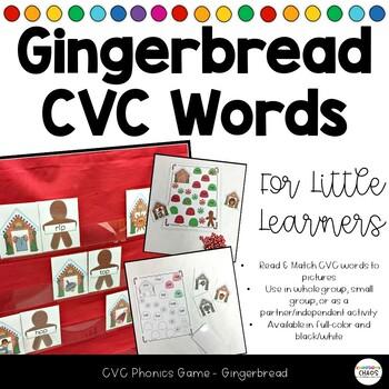Gingerbread Phonics CVC Game - Read and Match