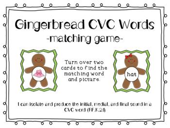 Gingerbread CVC Matching Game