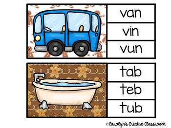 Gingerbread CVC Words - Clip Cards