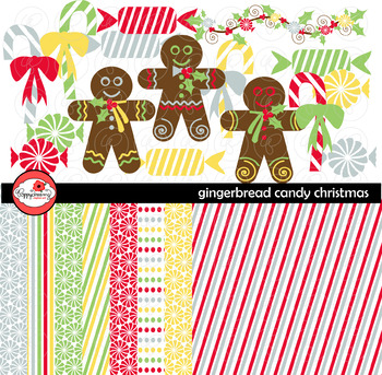 Gingerbread Candy Christmas Clipart and Digital Paper Set by Poppydreamz
