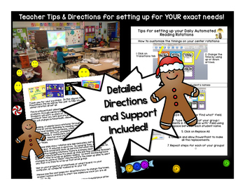 Gingerbread Centers Guided Reading Rotation Editable Powerpoint for 5 stations