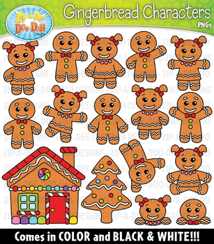 Gingerbread Characters Clipart Set — Includes 40 Graphics!