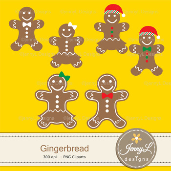 Gingerbread Christmas Digital Papers & Cliparts