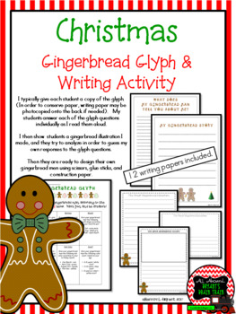 Gingerbread Christmas Glyph and Writing Activity