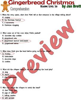 Gingerbread Christmas : Jan Brett : Reading Comprehension Questions LINED PAPER