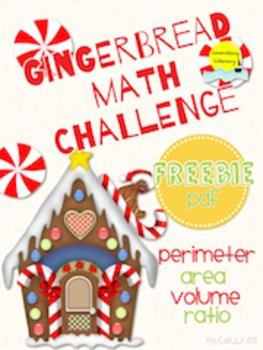 Gingerbread Christmas Math Challenge! Perimeter, Area, Volume, and Ratio