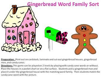 Gingerbread Christmas Word Family Sort