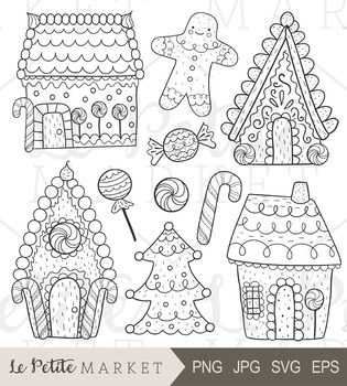 Christmas Gingerbread House Drawing.Gingerbread Clip Art Holiday Clip Art Christmas Gingerbread House Line Vector