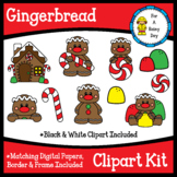 Gingerbread Clipart Kit (clipart, digital papers, border & frame)