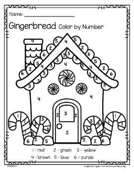 Gingerbread Color by Number Printables - 3 pages