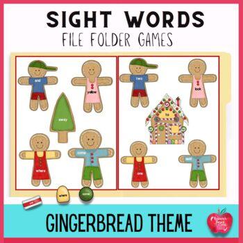December Sight Word File Folder Games: Gingerbread Cookie Adventure