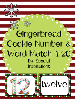 Gingerbread Cookie Number & Word Match 1-20 (Christmas Themed)