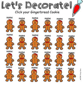 Gingerbread Cookie SmartBoard Attendance