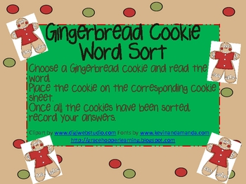 Gingerbread Cookie Word Sort with Recording Sheet