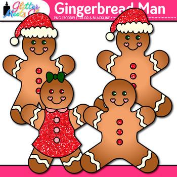 Gingerbread Man Clip Art {Christmas Activities & Scrapbooking Use}