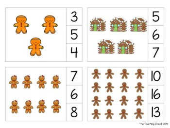 Gingerbread Count & Clip 1-20