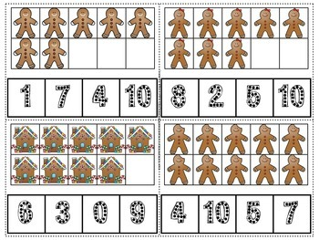 Gingerbread Count and Clip Numerals 1-10