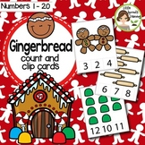 Gingerbread Count and Clip cards (Numbers 1-20) plus worksheets