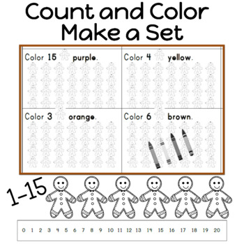 Gingerbread Count and Color to make a set