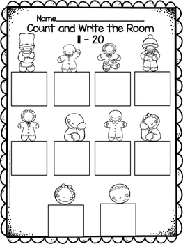 Gingerbread Count and Write the Room 11-20 Freebie!