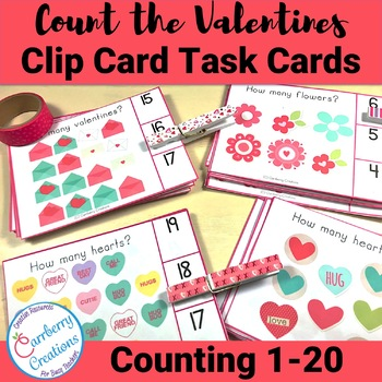 Valentine's Day Counting Interactive Task Cards Center