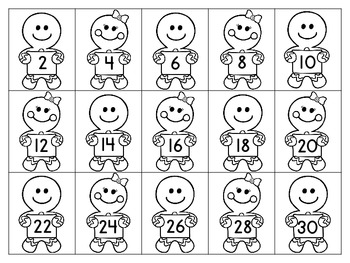 Gingerbread Counting & Skip Counting Sentence Strip Activity